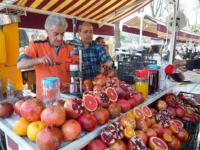 伊斯坦堡, 供货商, 卖方, 石榴, 土耳其, 市场, 集市上