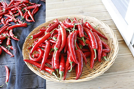 pepper, vegetable, basket, food, red, spice, freshness