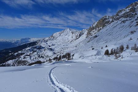 Alpes, montañas, paisajes, paisaje de invierno, naturaleza, nieve, senderismo