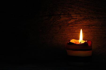 stearinlys, flamme, Candlelight, træ, lys