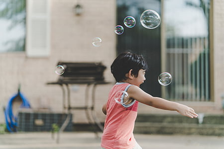 boy, bubbles, child, fun, game, happiness, kid