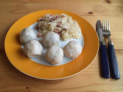 dumpling, grammel dumplings, sauerkraut, sausage dumpling, meat dumplings, selchspeckknödel, dough