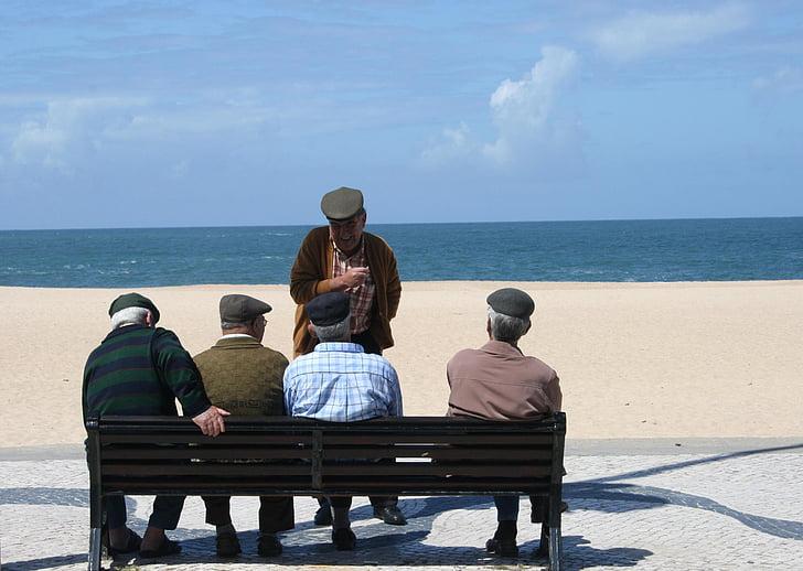 old men, group of people, seaside
