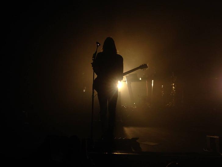 música, Concert, llums, escena, silueta, nit, nou il·luminat