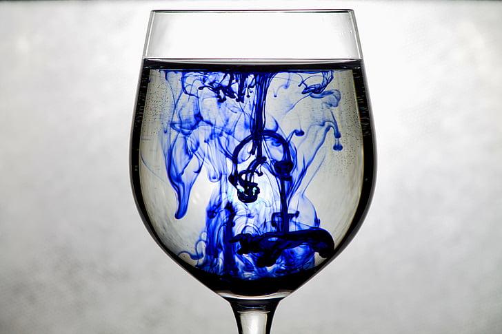 мастило, стъкло, синьо, вода, изкуство, цвят, течност