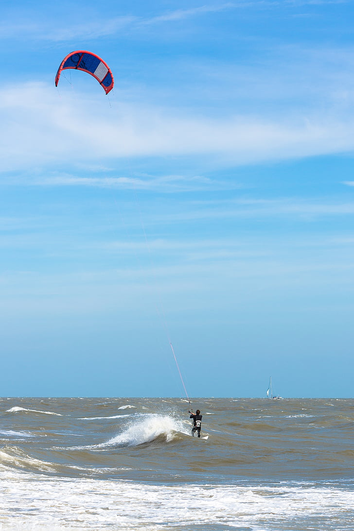 kite surf, vent, Mar, cel, surfista, surf, esport
