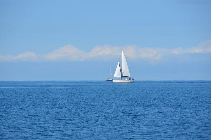 Ocean, segelbåt, segling, Sky, blå, Marine, vatten