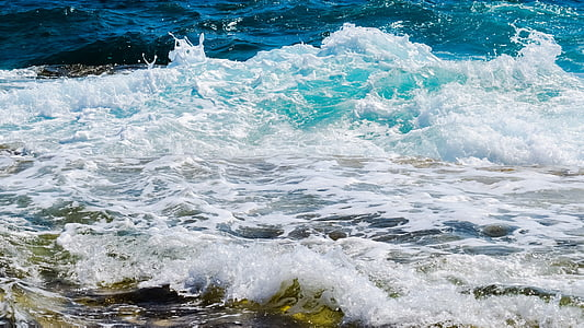 κύμα, αφρώδες υλικό, σπρέι, στη θάλασσα, μπλε, παραλία, βουτιά