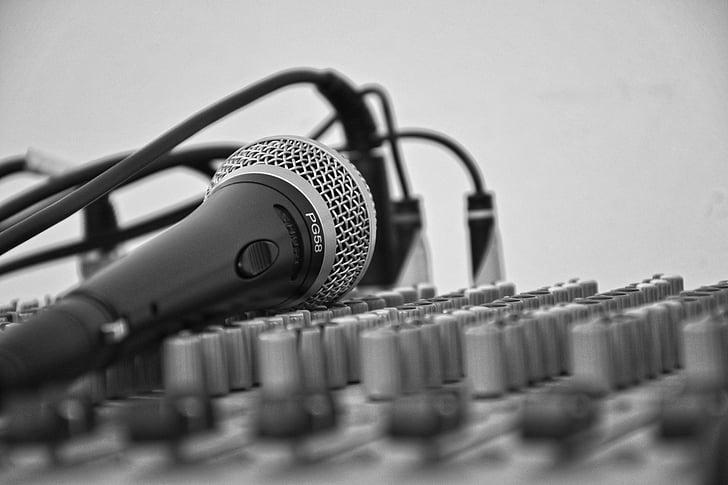 música, micròfon, puntuació, cançó, Mesclador, cables, volum