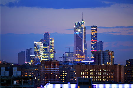 natt, Downtown, Towers, Skyline, stadsbild, staden, Urban