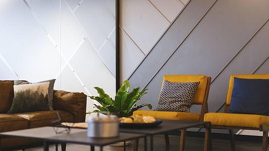 vivint, sala, sofà, coixí, sofà, interior, disseny