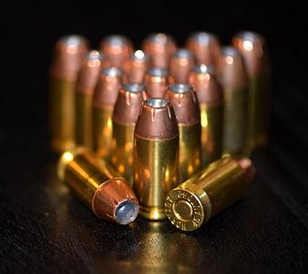 golyók, lőszer, lőszer, sárgaréz, patronok, kaliber, fordulóban