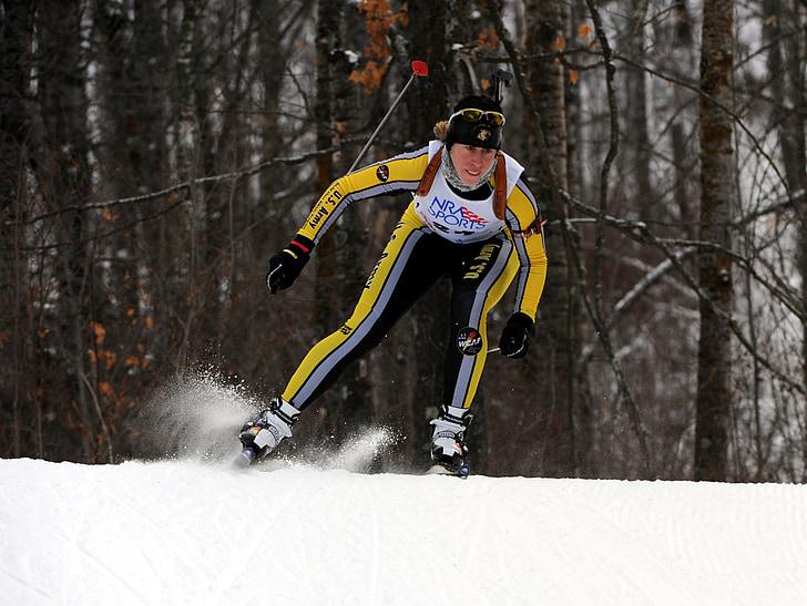esquiador, país creu, neu, l'hivern, mascle, competència, biathalon