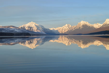 Lake mcdonald, landschap, Bergen, skyline, piek, reflectie, water
