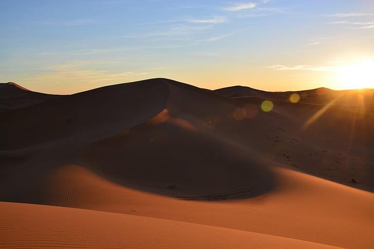 일몰, 사막, 사하라, abendstimmung, 모래 언덕, 자연, 모래