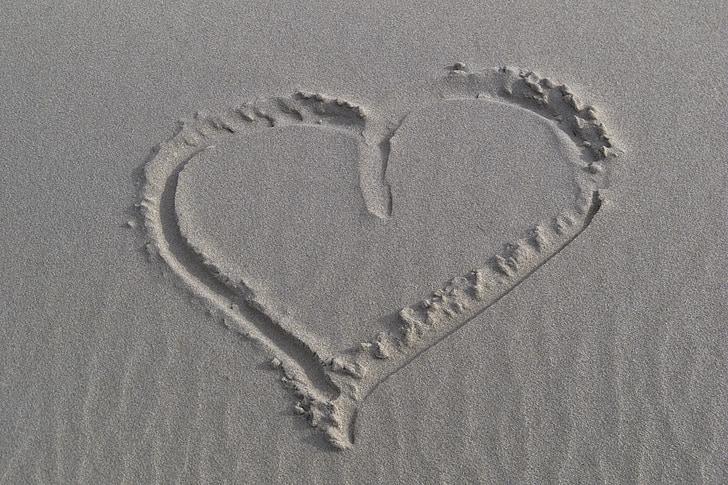 trái tim, Cát, Bãi biển, kỳ nghỉ, Yêu, Bãi biển cát, mùa hè