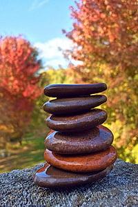 six, pile, brun, empilage, pierres, Balance, se détendre