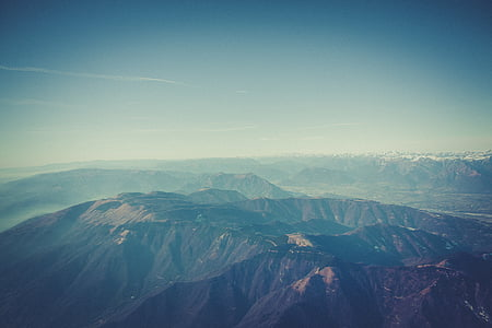 fog, landscape, mountain range, mountains, nature, outdoors, sky
