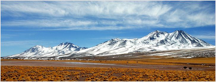 Chili, Andes, paysage, montagnes enneigées, montagne, neige, nature