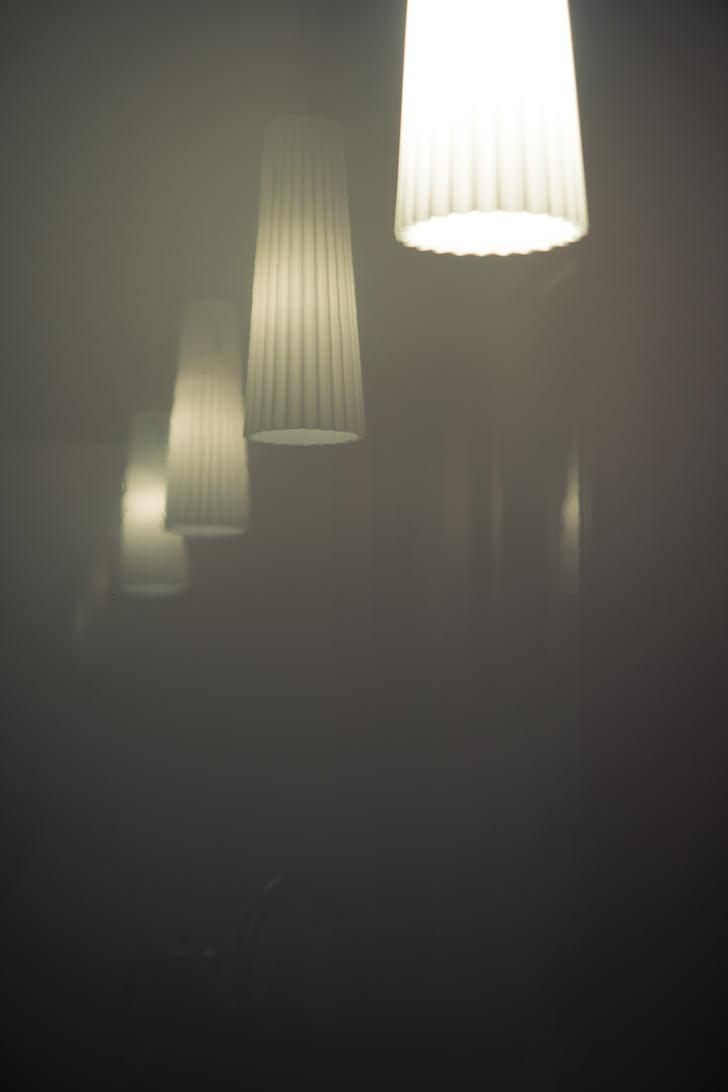 làmpades, mirall, boira, incolor, reflectint, fons, llum
