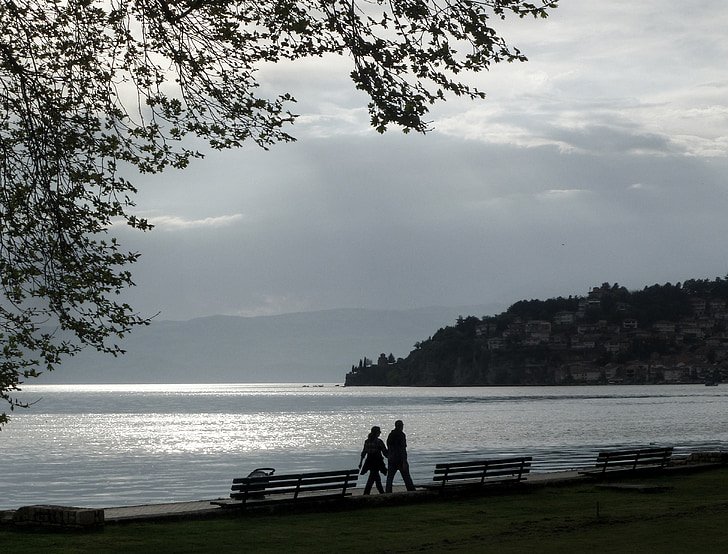 l'aigua, romàntic, núvols, platja, sol ponent