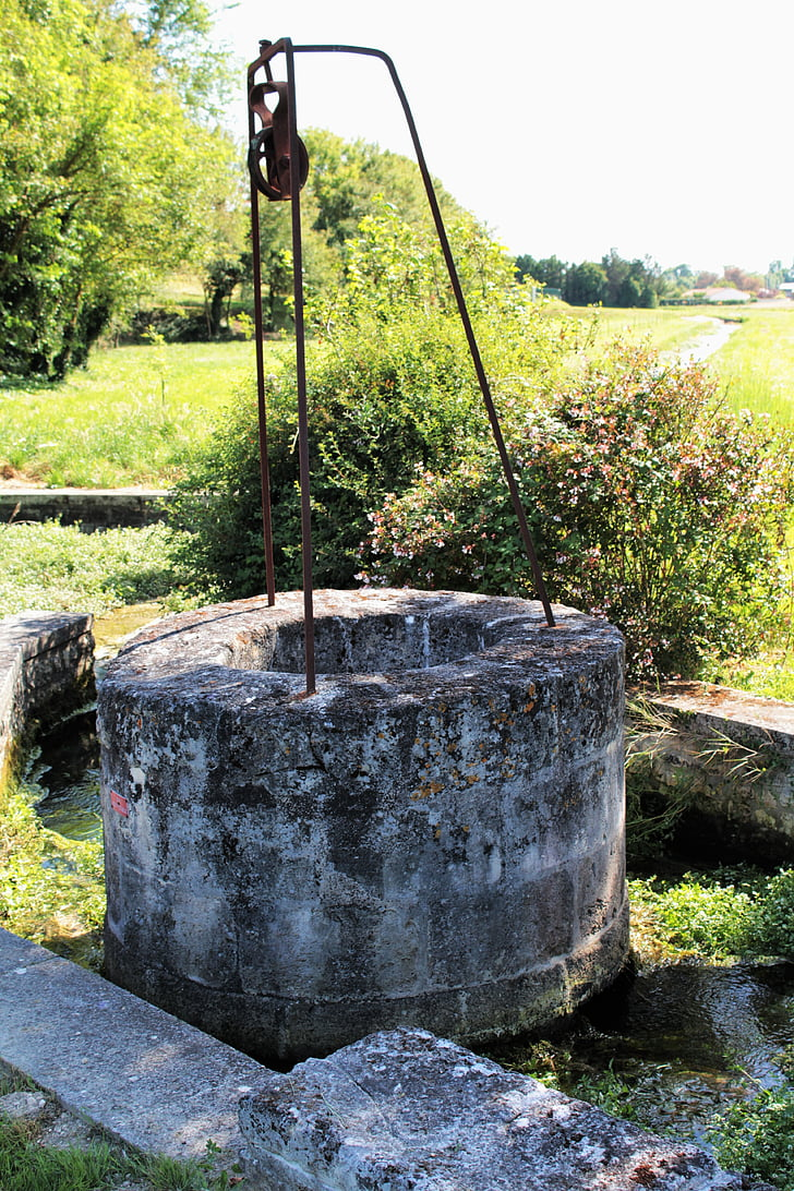 well, stone well, france, the farms, charente, water, pre