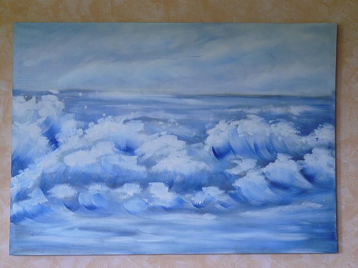 kép, festészet, hullám, víz, spray, tenger, óceán