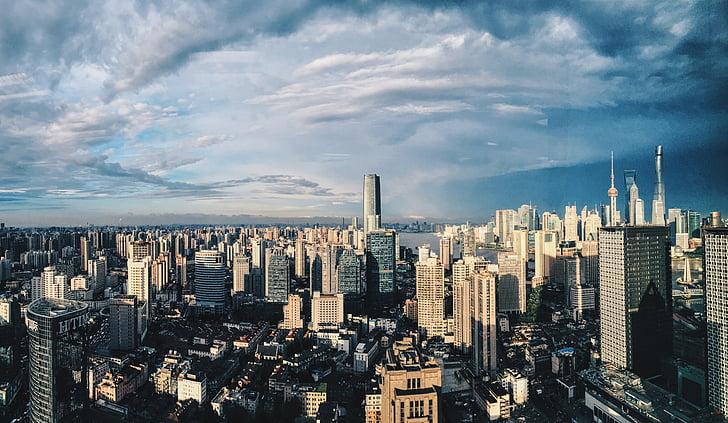 shanghai, the window, sunny days, city, cityscape, skyscraper, architecture