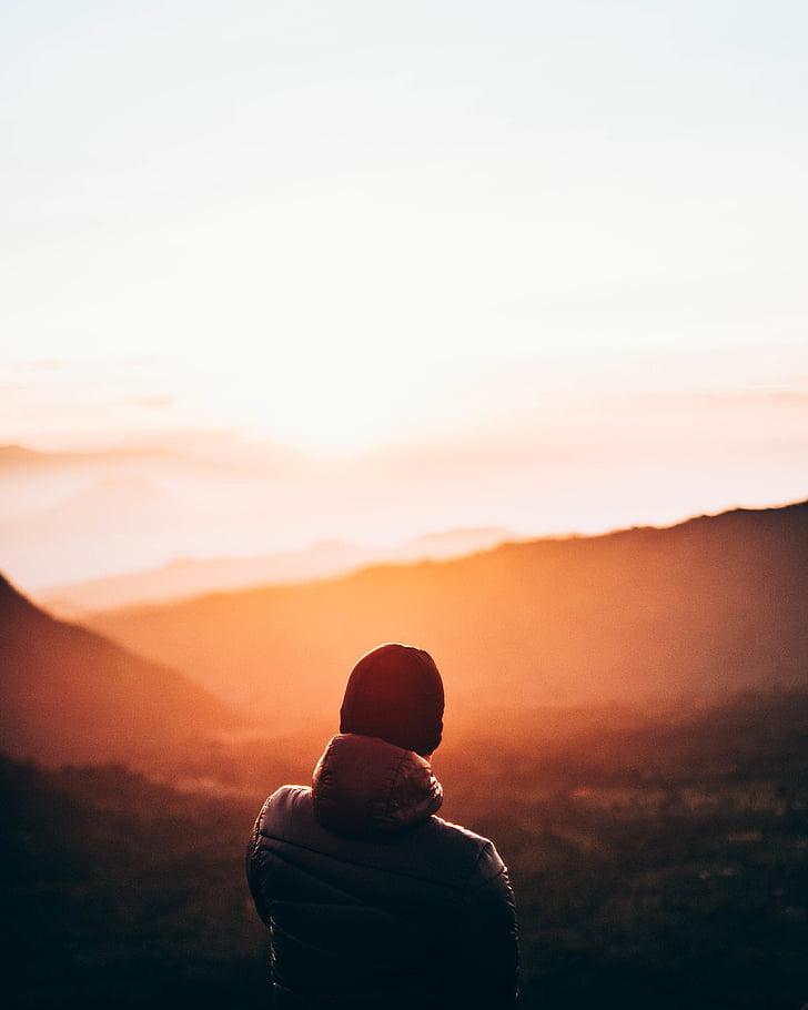 mänskliga, topp, Mountain, solnedgång, Sunrise sunset, bakifrån, siluett