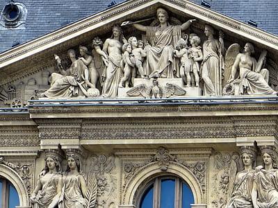 Pariis, louvre, ehisviil, kujud, muuseum, skulptuurid, Art