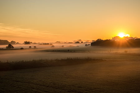 sunrise, fog, fields, nature, dawn, morning hour, morgenstimmung