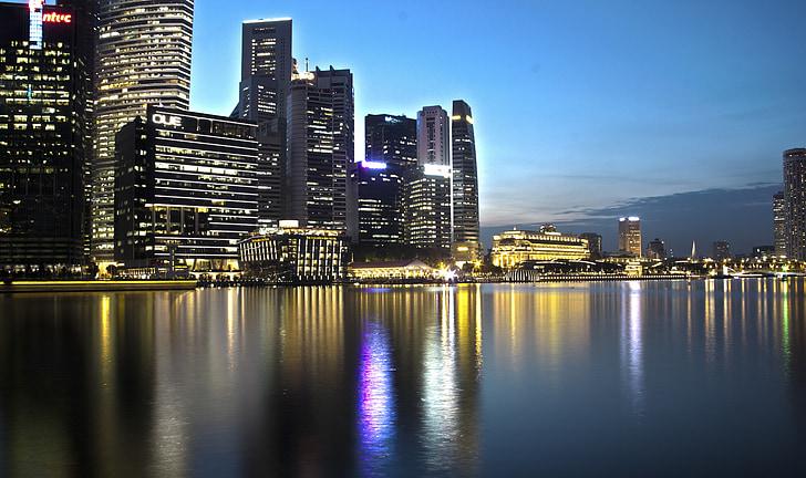 nit, Singapur, paisatge urbà, Àsia, passeig marítim, reflexió