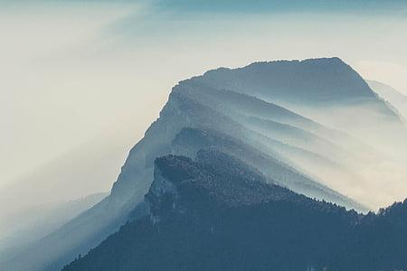 mountain, highland, sky, summit, ridge, landscape, nature