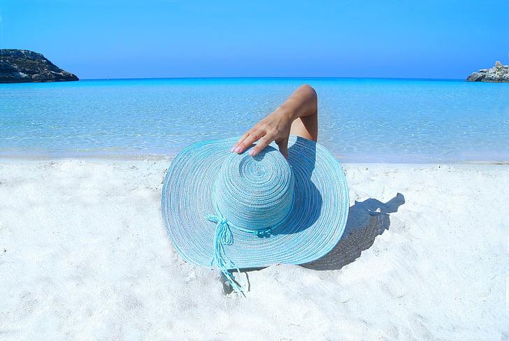 mood, Mudel, Beach, müts, liiv, Sea, Ocean