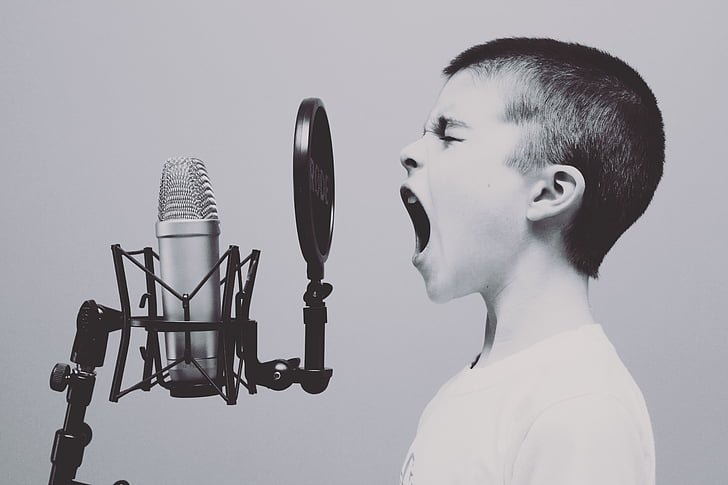 microphone, boy, studio, screaming, yelling, sing, singing