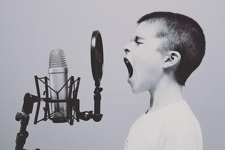mikrofon, Poiss, stuudio, karjuvad, karjuma, laulda, laulmine