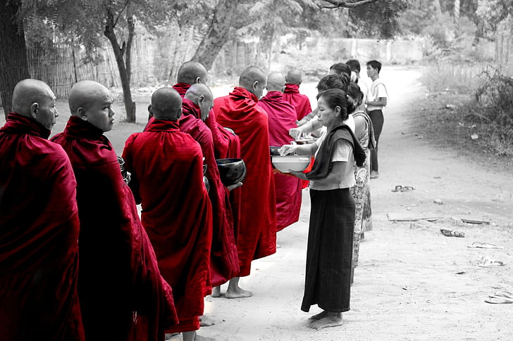 Barma, Mjanmarsko, mních, chrám, budhistické, Bagan, ľudské