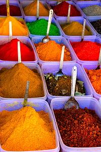 màu sắc, gia vị, nghệ tây, bột, túi xách, sắc nét, cà ri