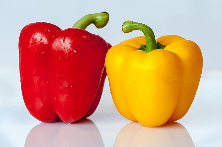 paprika, köögiviljad, kollane, punane, toidu, süüa, taimne