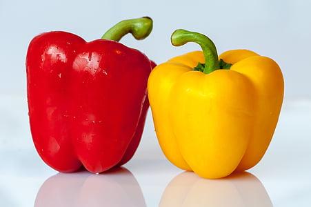 paprika, grøntsager, gul, rød, mad, spise, vegetabilsk