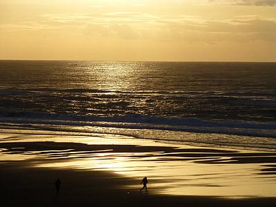 Sunset, Lincoln city, Oregon, rannikul, Beach, Vaikse ookeani, kuldne päikeseloojang