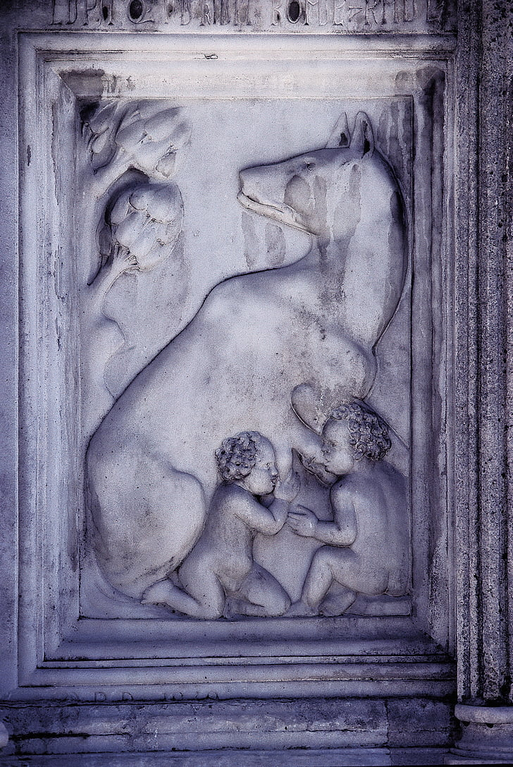romulus and rafi, roman, mythology, founder of the city of rome, marble, relief, capitoline wolves