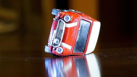 wypadek, Mini, Morris, czerwony, zdenerwowany, miniaturowe, Zabawka