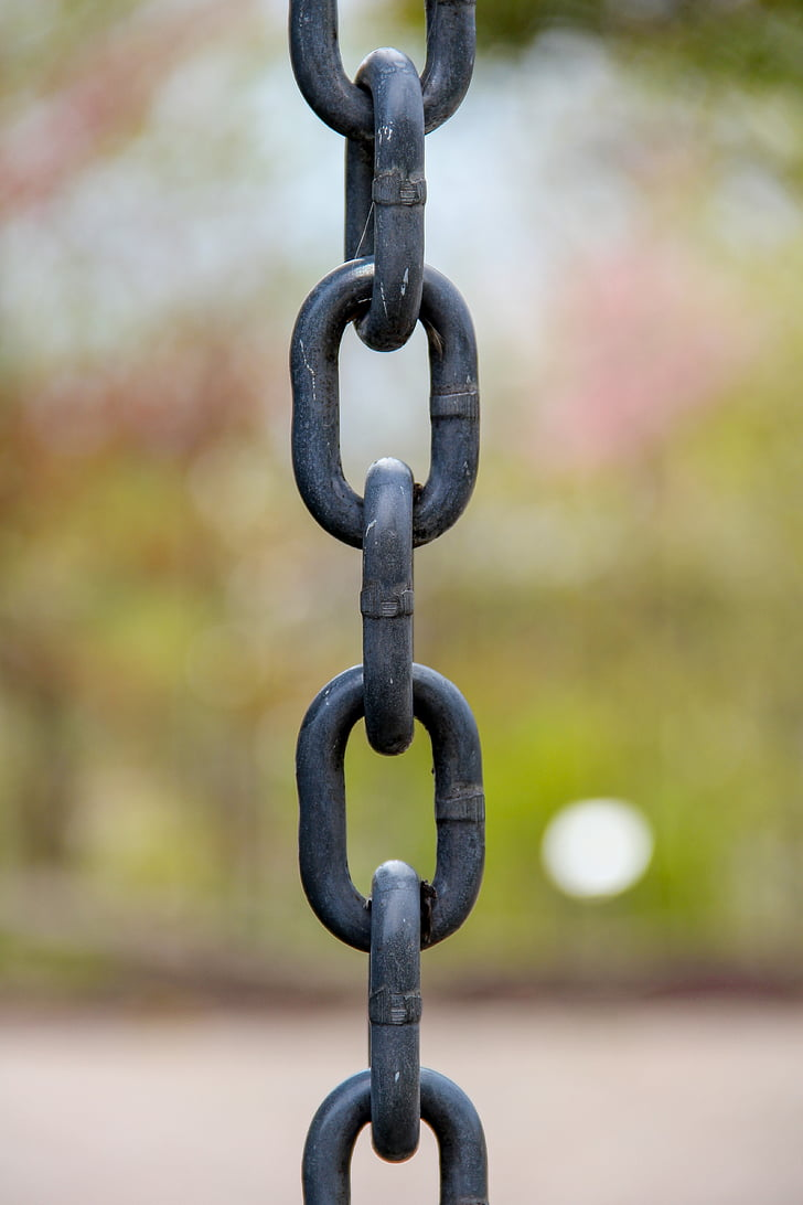 chain, anchored, connected, chained, iron chain, strength, metal