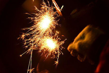 sparkler, light, new year's eve, shower of sparks, mood, radio, burning down