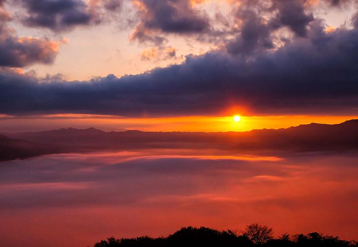 hav av moln, Japan, Kumamoto, Aso, molnet, Somma, solen