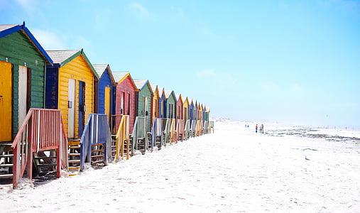 plaža, šarene, šareni, fasada, kuće, Koliba, krajolik