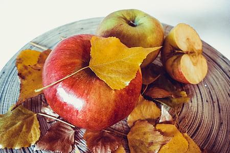 õunad, Sügis, lehed, kuldne, sügisel, puu, toidu