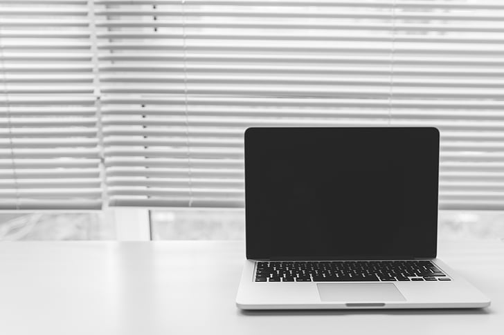 macbook, laptop, computer, technology, blinds, window, desk