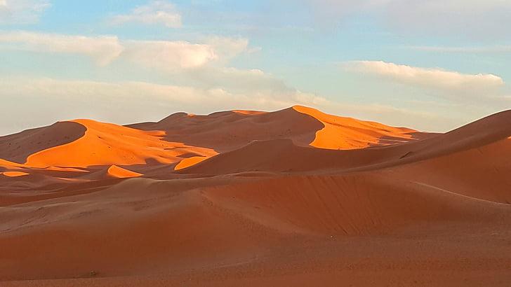 pôr do sol, deserto, Sahara, Marrocos, cênica, impressionante, África